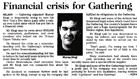 Financial crisis for Gathering - Christchurch Press, 5 February 2001