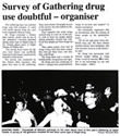 Survey of Gathering drug use doubtful - organiser - Evening Post, 6 January 2001